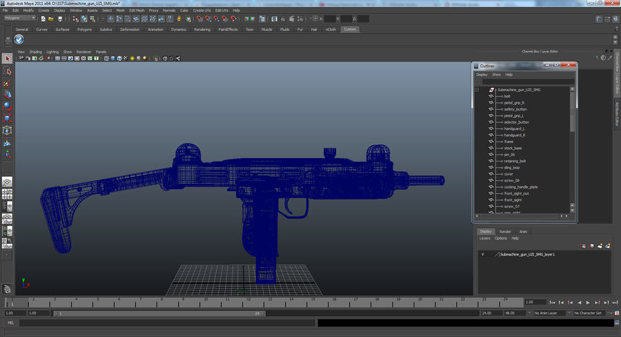 Fucile mitragliatore UZI SMG royalty-free 3d model - Preview no. 21