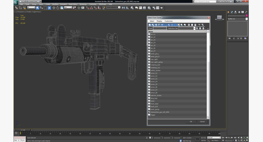 Fucile mitragliatore UZI SMG royalty-free 3d model - Preview no. 20