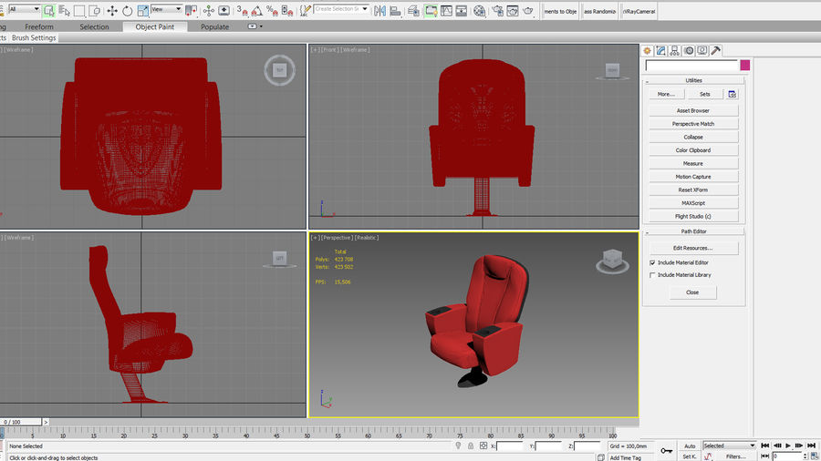 Cinema Chair royalty-free 3d model - Preview no. 16