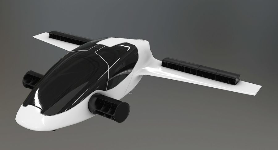 Lilium Jet Flying Car Concept royalty-free 3d model - Preview no. 2