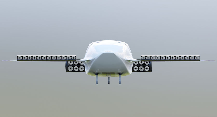 Lilium Jet Flying Car Concept royalty-free 3d model - Preview no. 7