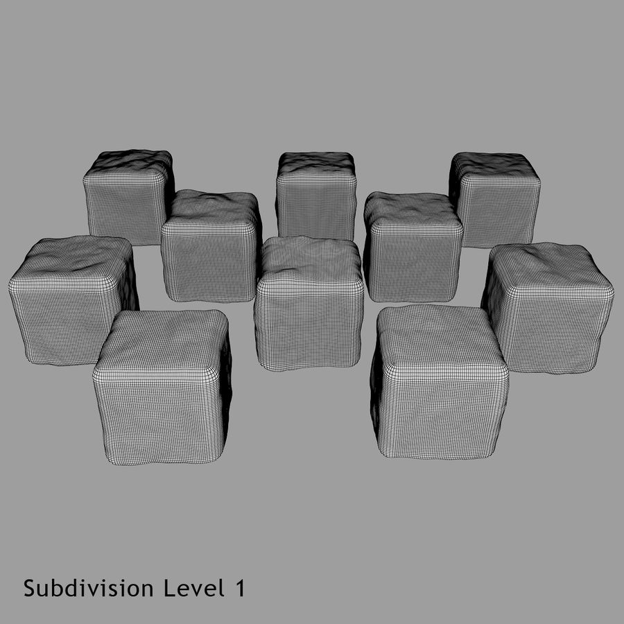 Smooth Ice Cubes royalty-free 3d model - Preview no. 19