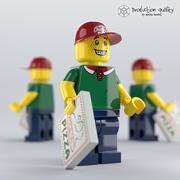 레고 피자 배달원 3d model