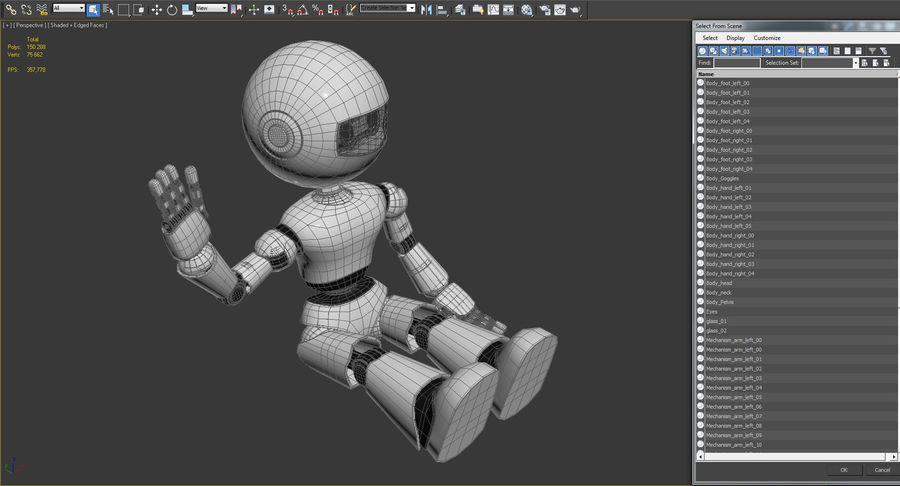 White Robot royalty-free 3d model - Preview no. 11