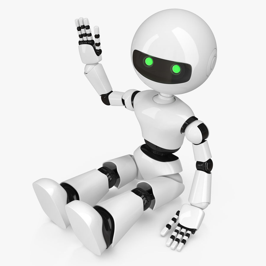 White Robot royalty-free 3d model - Preview no. 1