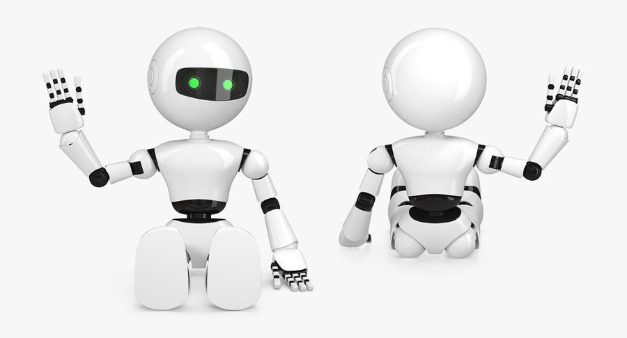 White Robot royalty-free 3d model - Preview no. 3