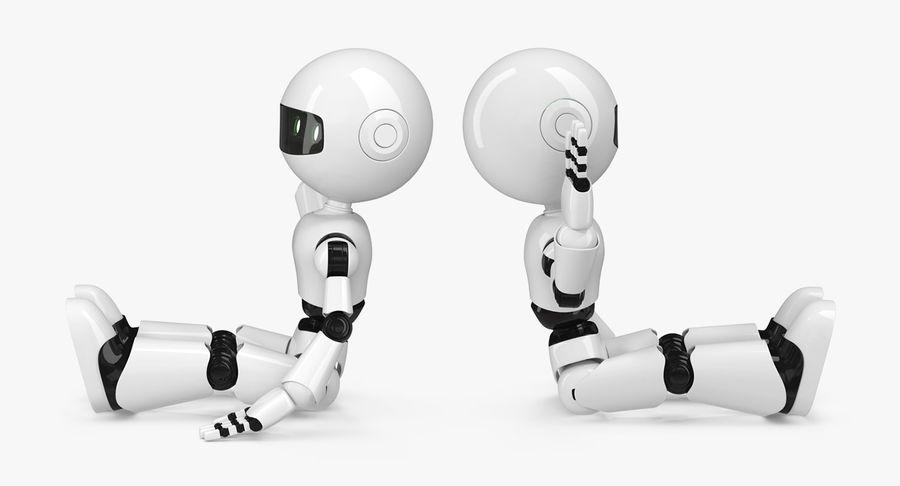 White Robot royalty-free 3d model - Preview no. 5