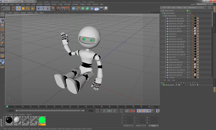 White Robot royalty-free 3d model - Preview no. 13