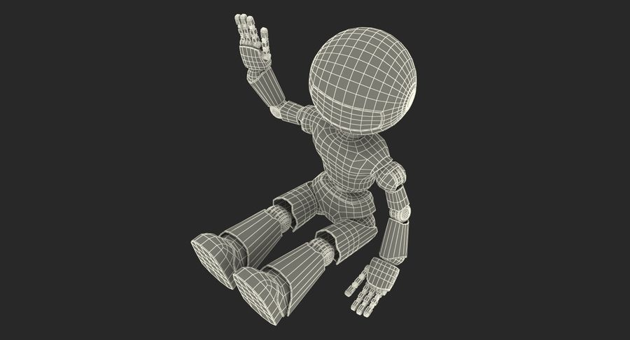 White Robot royalty-free 3d model - Preview no. 14