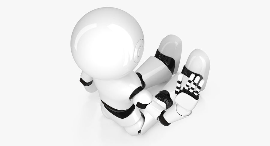 White Robot royalty-free 3d model - Preview no. 4