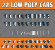 22 CARS LOW POLY 3d model