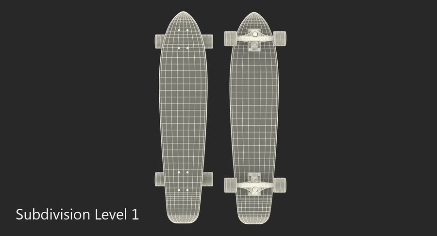Longboard Generic royalty-free 3d model - Preview no. 9