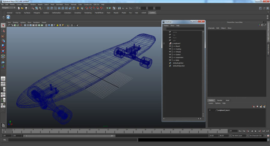 Longboard Generic royalty-free 3d model - Preview no. 13