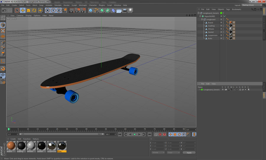 Longboard Generic royalty-free 3d model - Preview no. 14