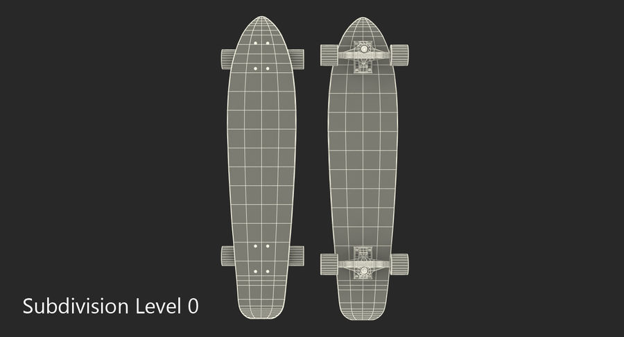 Longboard Generic royalty-free 3d model - Preview no. 8