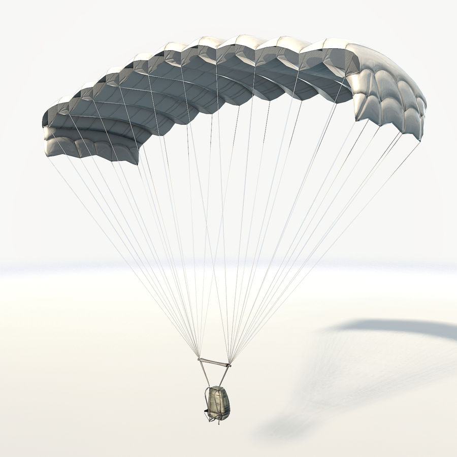 Parachute low poly royalty-free 3d model - Preview no. 3