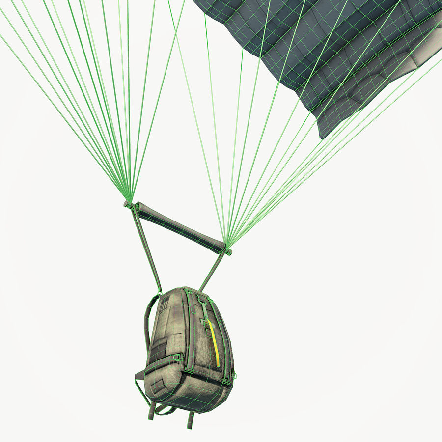 Parachute low poly royalty-free 3d model - Preview no. 2