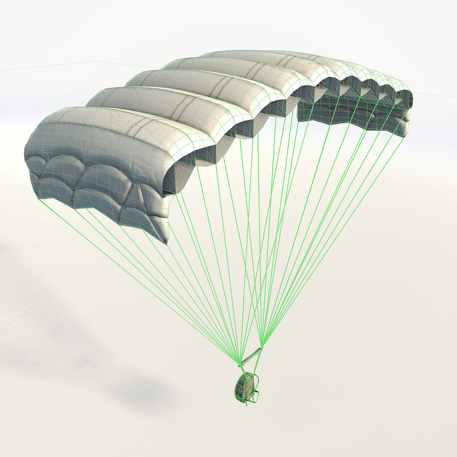 Parachute low poly royalty-free 3d model - Preview no. 6