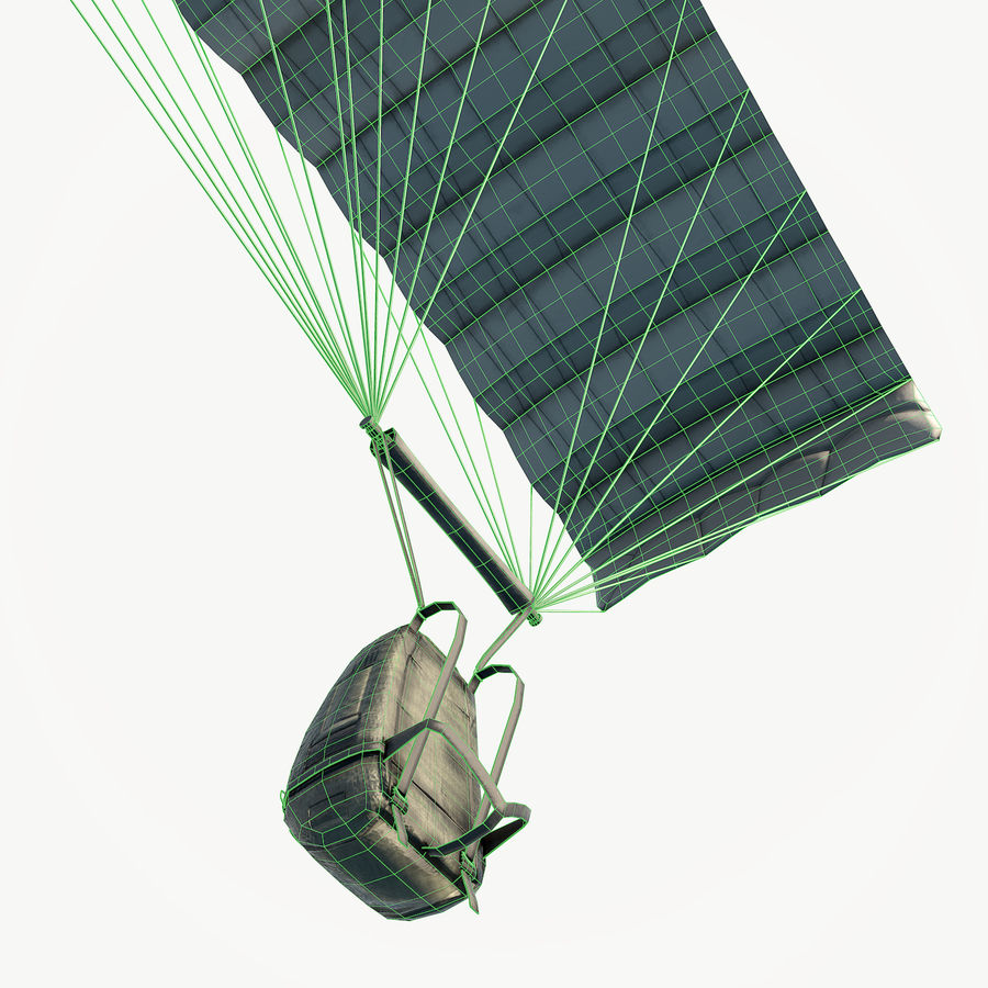 Parachute low poly royalty-free 3d model - Preview no. 10