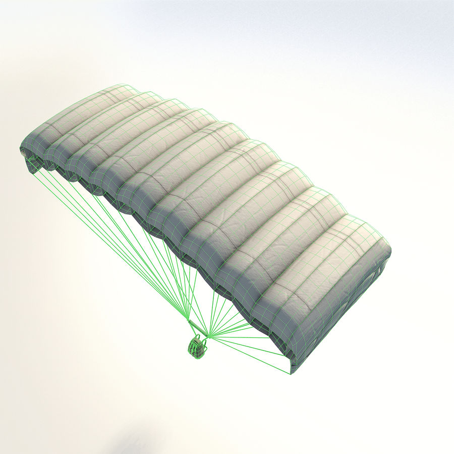 Parachute low poly royalty-free 3d model - Preview no. 8