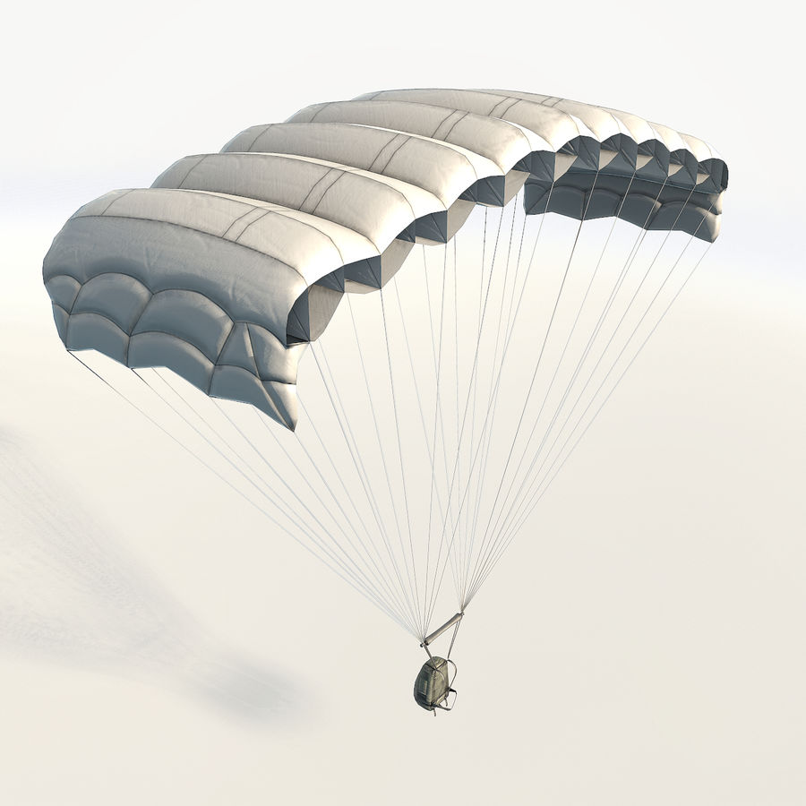 Parachute low poly royalty-free 3d model - Preview no. 5