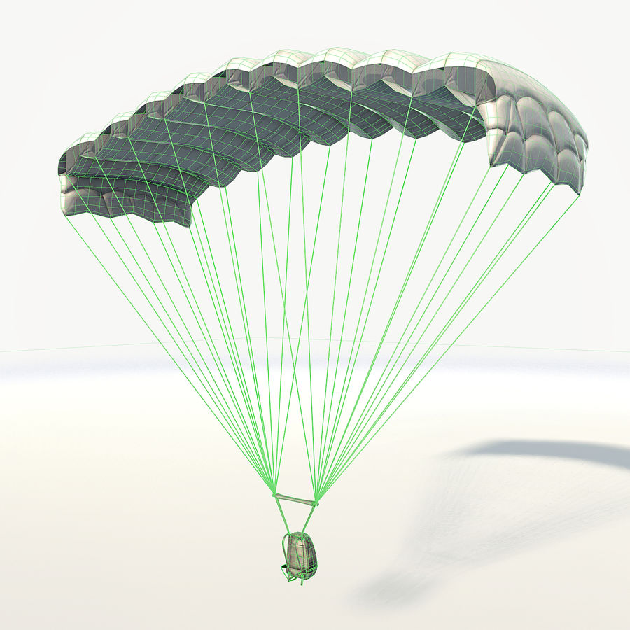 Parachute low poly royalty-free 3d model - Preview no. 4