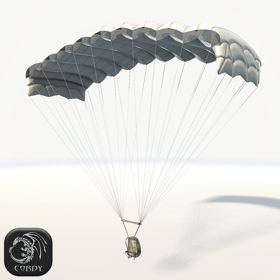 Parachute low poly royalty-free 3d model - Preview no. 1