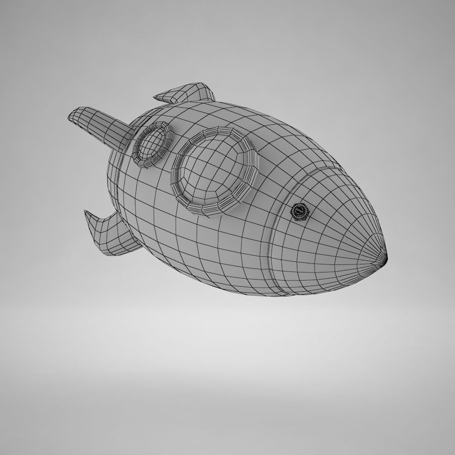 Cartoon Space Rocket royalty-free 3d model - Preview no. 16