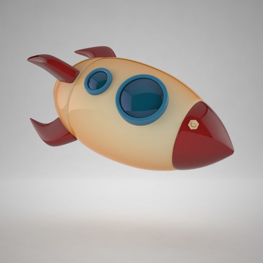 Cartoon Space Rocket royalty-free 3d model - Preview no. 12