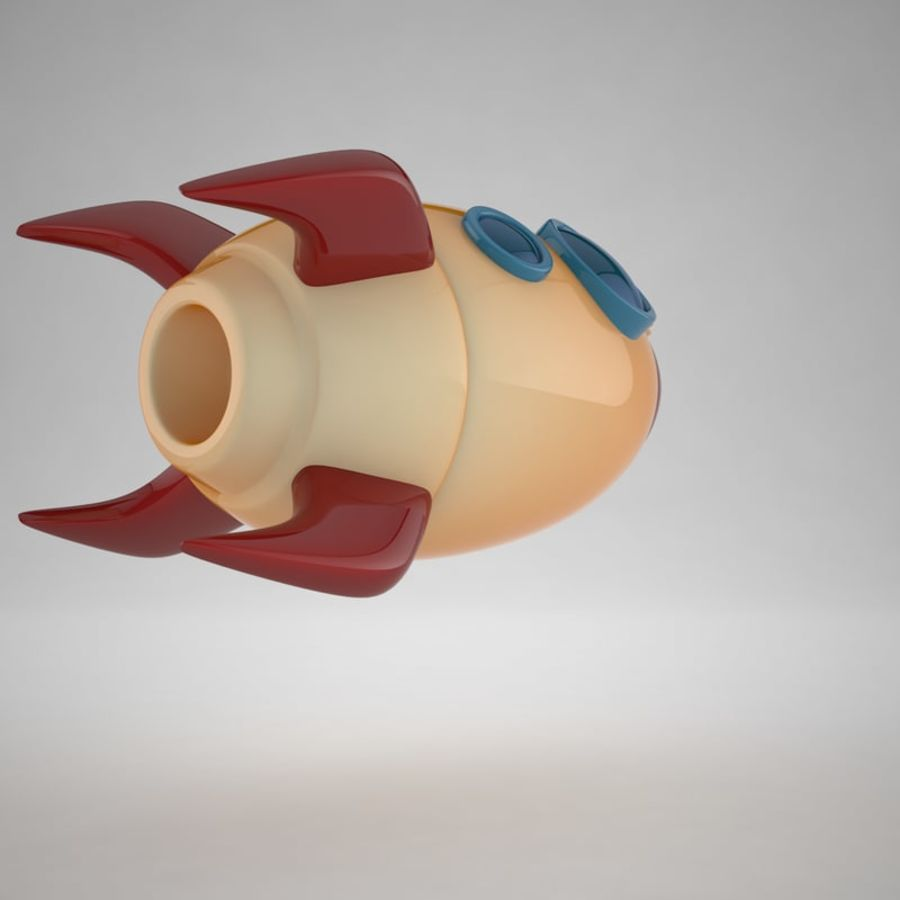 Cartoon Space Rocket royalty-free 3d model - Preview no. 10