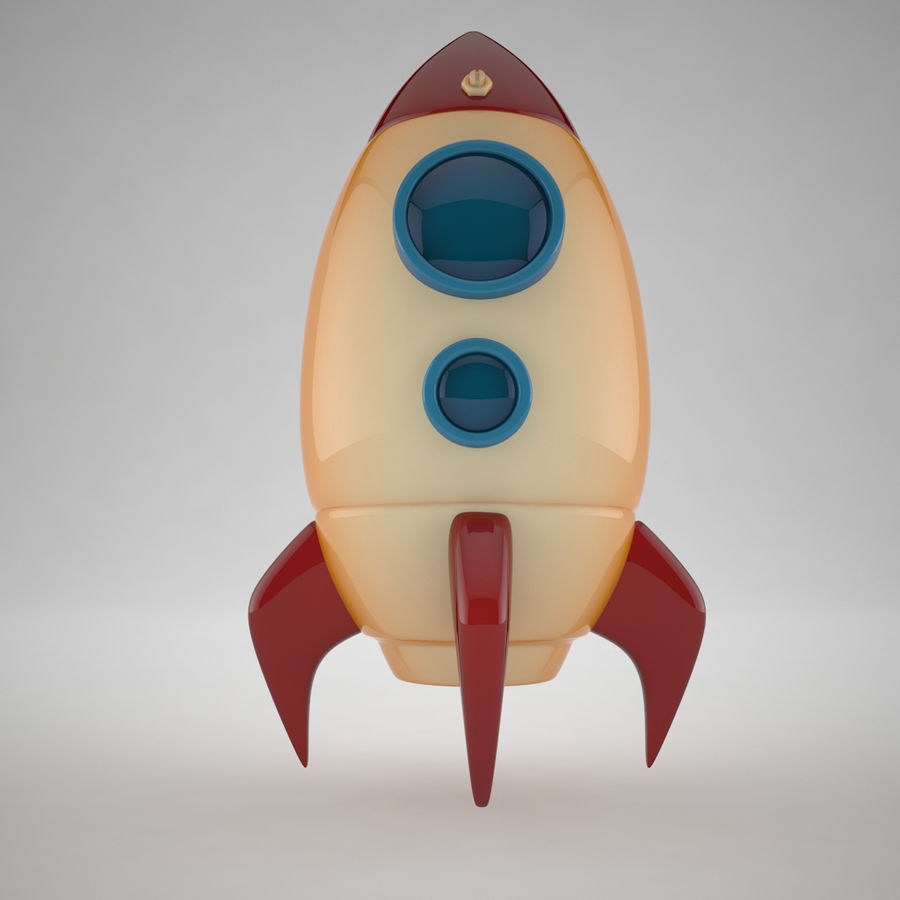 Cartoon Space Rocket royalty-free 3d model - Preview no. 2