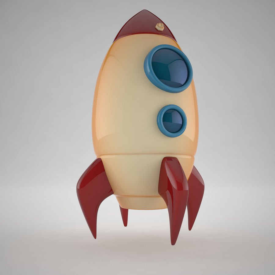 Cartoon Space Rocket royalty-free 3d model - Preview no. 3
