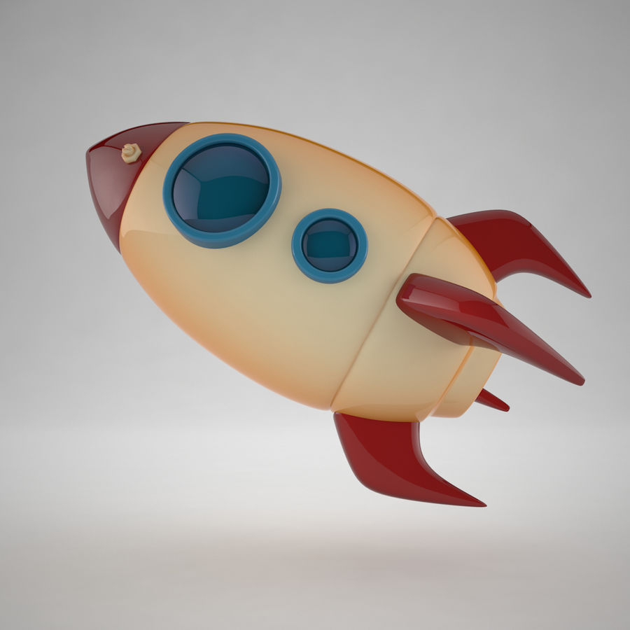 Cartoon Space Rocket royalty-free 3d model - Preview no. 6