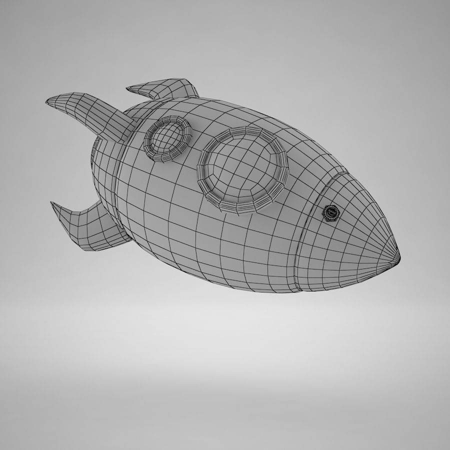 Cartoon Space Rocket royalty-free 3d model - Preview no. 17
