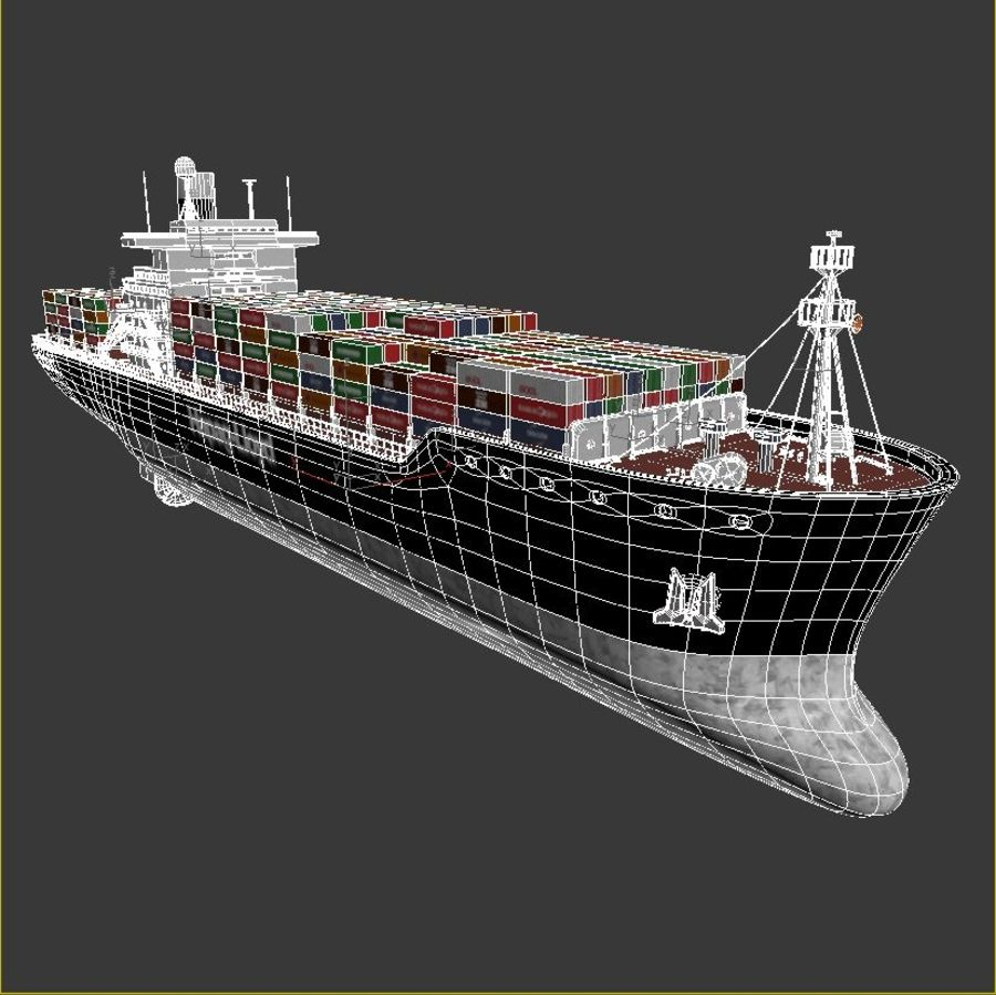 Container ship royalty-free 3d model - Preview no. 7