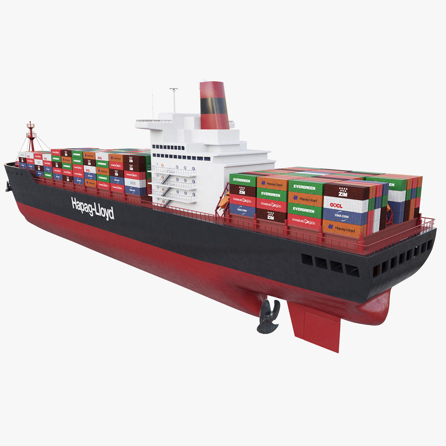 Container ship royalty-free 3d model - Preview no. 3