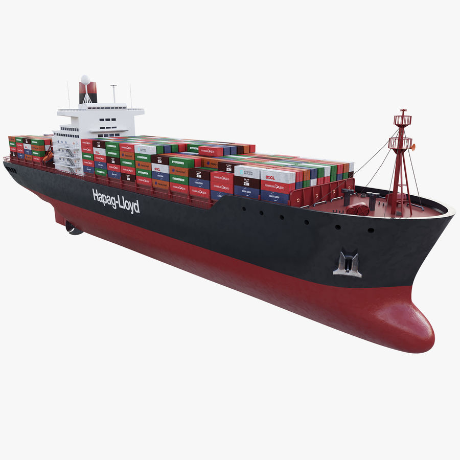 Container ship royalty-free 3d model - Preview no. 1