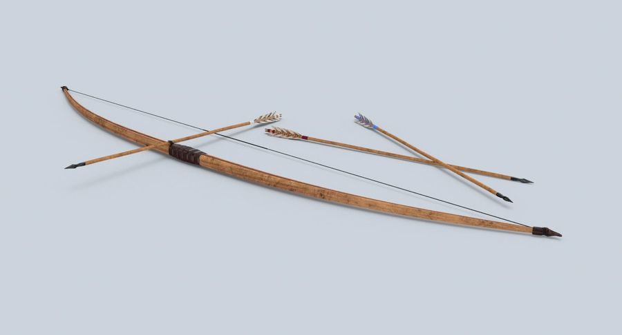 Medieval Bow royalty-free 3d model - Preview no. 3