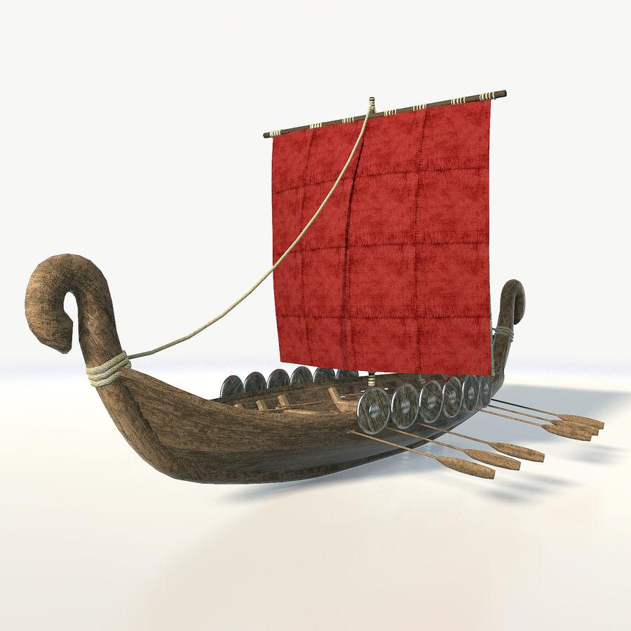 Drakkar 저 폴리 royalty-free 3d model - Preview no. 2