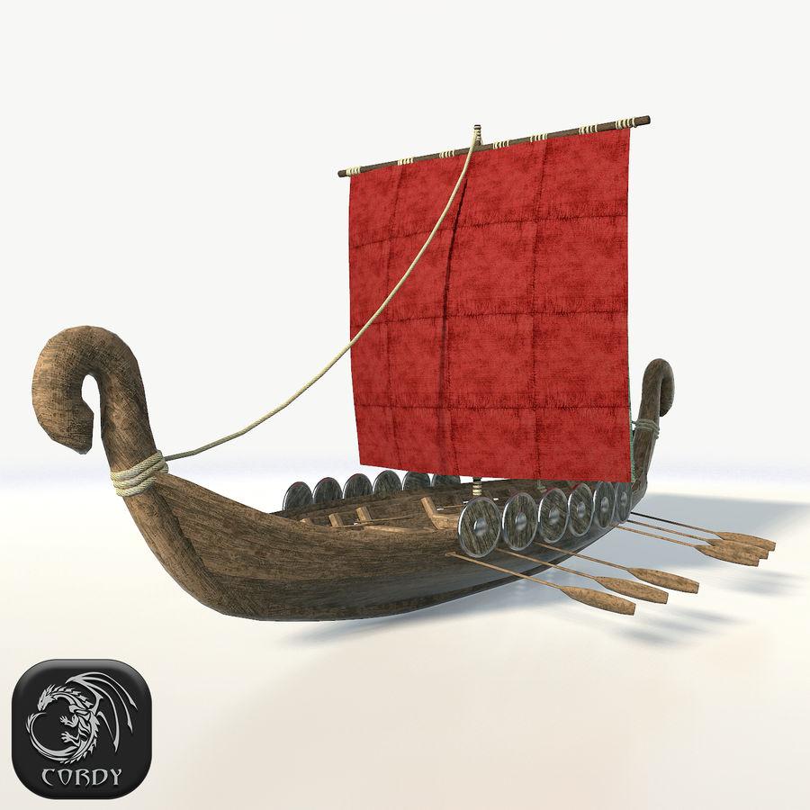 Drakkar 저 폴리 royalty-free 3d model - Preview no. 1