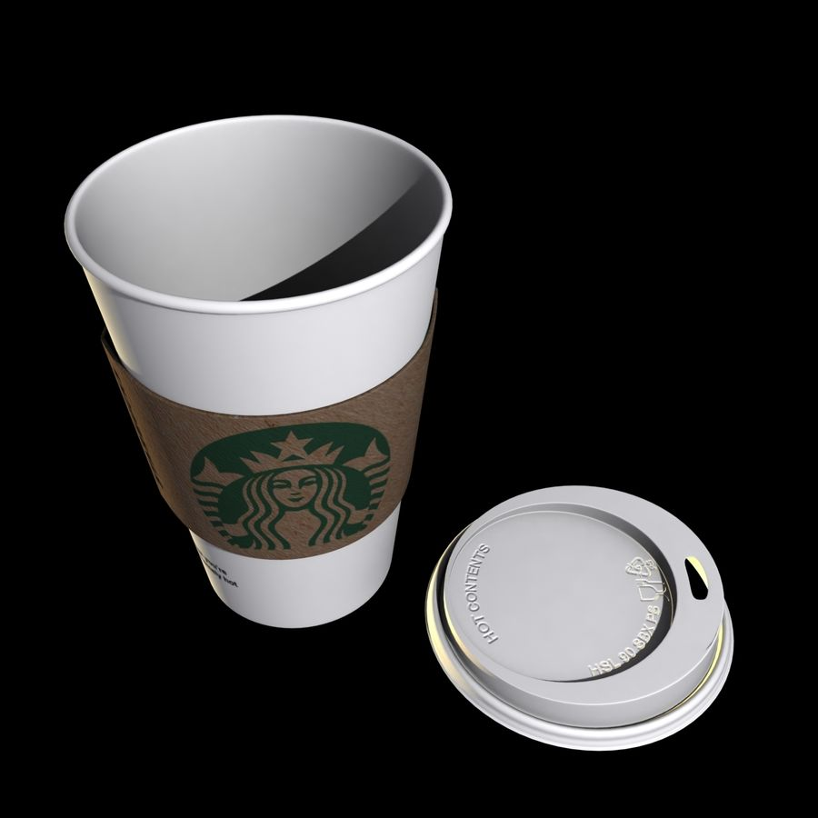 Starbucks Paper Cup royalty-free 3d model - Preview no. 6