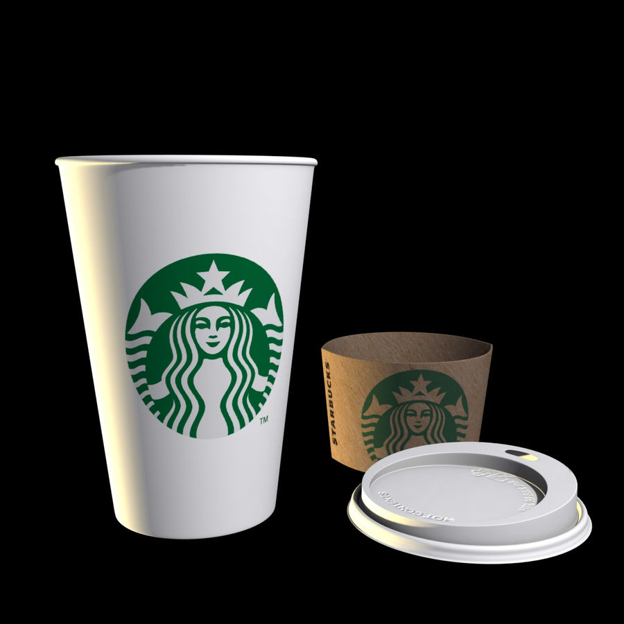 Starbucks Paper Cup royalty-free 3d model - Preview no. 8