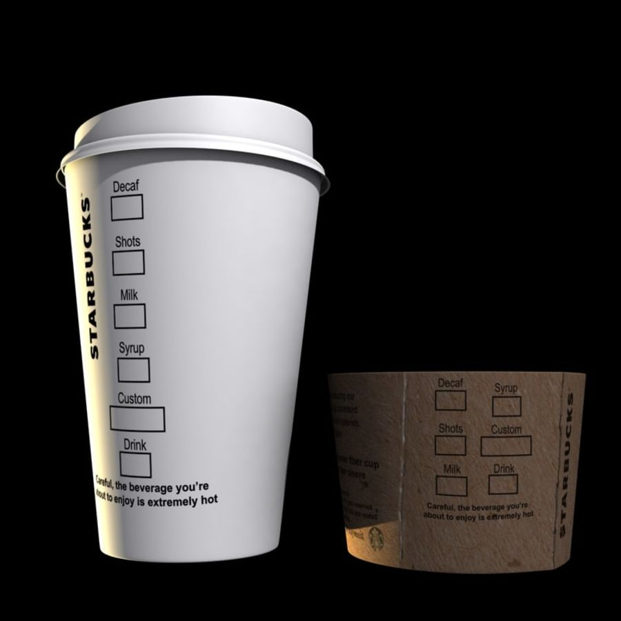 Coupe en papier Starbucks royalty-free 3d model - Preview no. 5