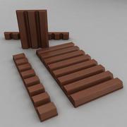 棕色巧克力棒和块 3d model