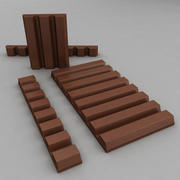 Brown Chocolate bars and pieces 3d model
