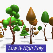 Low Hi Poly Trees modelo 3d