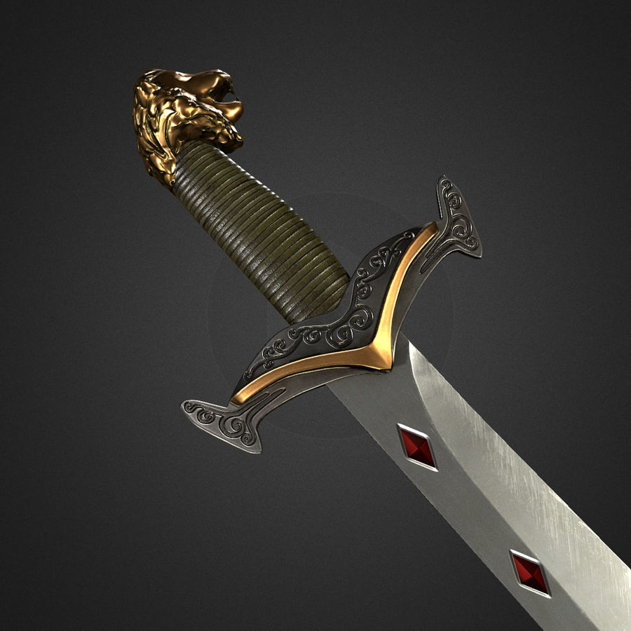 Spada medievale fantasy royalty-free 3d model - Preview no. 1