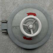Корабельный люк на бетонной стене 3d model
