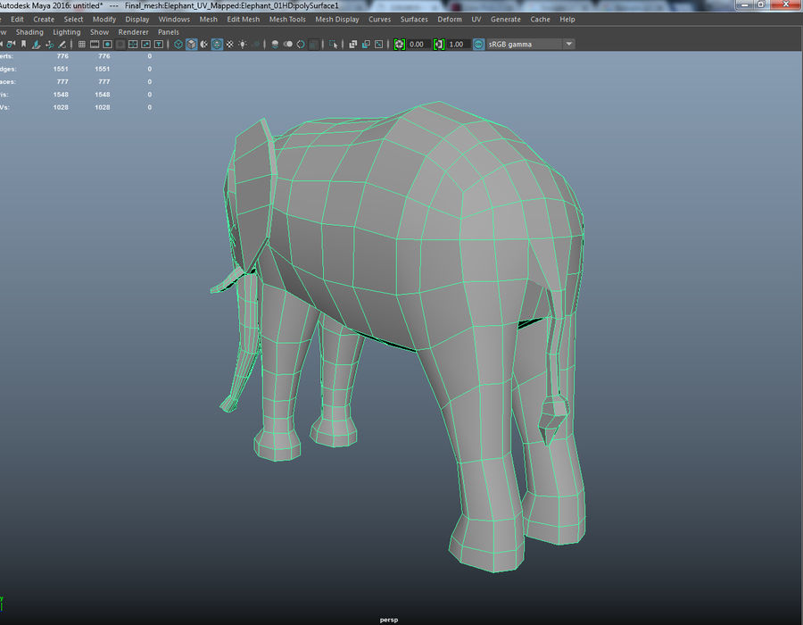 Elephant Low Poly royalty-free 3d model - Preview no. 5