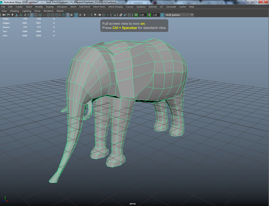 Elephant Low Poly royalty-free 3d model - Preview no. 4